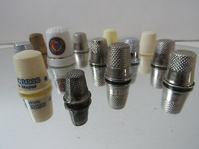 Vintage & Other, Thimbles, Lot Of 13, Asst Sizes, Materials & Make. All In GC