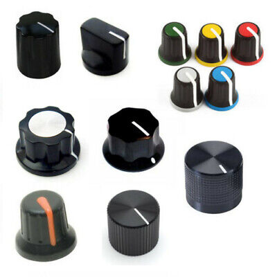 Potentiometer Knobs Various Styles 6mm/6.35mm Shaft in Rubber/Plastic/Aluminium