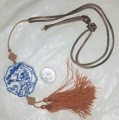 Antique Chinese Porcelain Amulet on Silk Cord