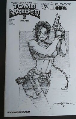 tomb raider comics black and white sketch limited #9