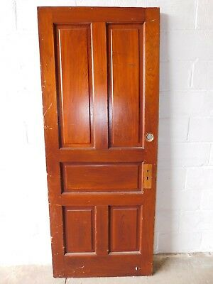 1890's Wooden INTERIOR DOOR Five Panel CYPRESS Antique Victorian Style ORNATE