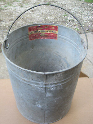 VTG SANETTE Galvanized Steel Pail Rustic Chore Bucket/Farm Countr DECOR/Planter