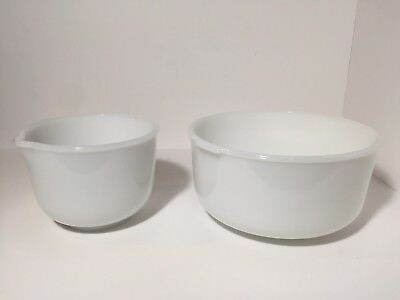Vintage Glasbake Made for Sunbeam Mix Master White Milk Glass Mixing Bowl Set