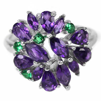 Natural Purple Amethyst Chrome Diopside 925 Sterling Silver Ring Size 8 / Q