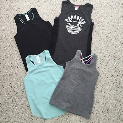 IVIVVA By Lululemon Girls Size 8 Set Of 4 TANK TOPS Workout Turquoise Black  Gray 88531c0f8