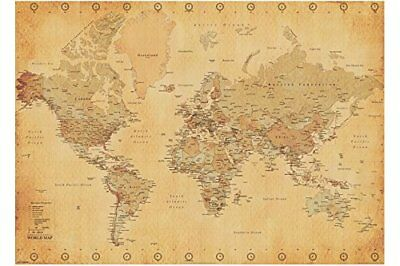 World Map Antique Style Educational Maps Giant Poster Print 100x140cm | 39x55 in