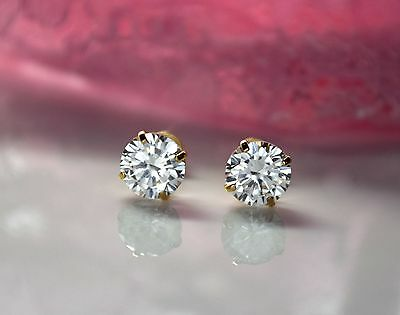 14k yellow gold basket created diamond round brilliant screw back stud earrings