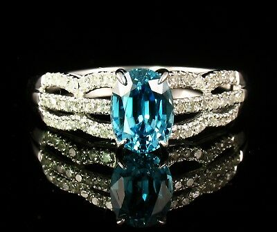 DESIGNER SIGNED RARE NATURAL 2.50ctw BLUE ZIRCON AND DIAMOND 14K WHITE GOLD RING