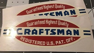 "Craftsman Tools Quality lathe vintage tool box style 40's decal 3 5/8"" 2 for 1"