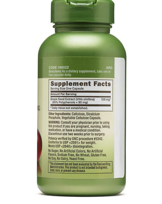 Gnc Herbal Plus Grape Seed Extract 300 Mg 100 Capsules