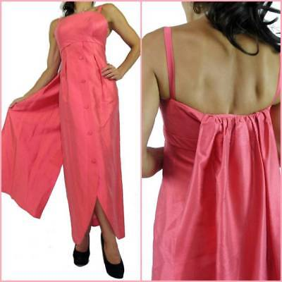 VINTAGE 60s RED CARPET EVENING GOWN w TRAIN 8 coral pink prom dress BOMBSHELL