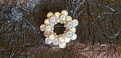 "VINTAGE LAYERED RHINESTONE BROOCH WITH CLEAR STONES 2-1/2"" ART DECO - color look"
