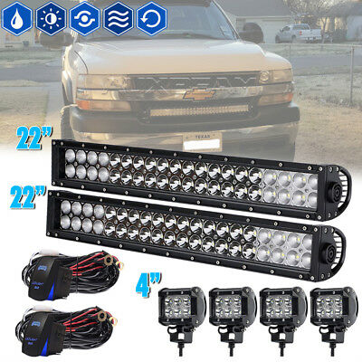 2X22Inch 120W Led Light Bar Spot Flood For Jeep Ford Boat Suv Off Road Gmc