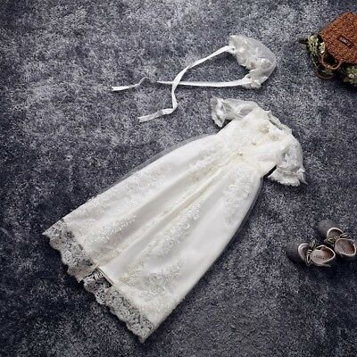 Ivory White Christening Dresses Infant Lace Baby Vintage Baptism Gowns +Bonnet