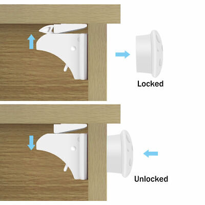 6x/set Magnetic Cabinet Drawer Cupboard Invisible Locks Baby Kids Safety Proof