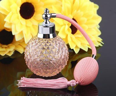Vintage Crystal Scent Perfume Bottle Long Spray Atomizer Glass Pink Lady Gift