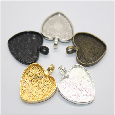 6pcs Heart shape Base Setting Trays , Necklace Pendant , Fit 25mm Heart Cabochon
