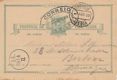 Cabo Verde: 1889: post card to Berlin