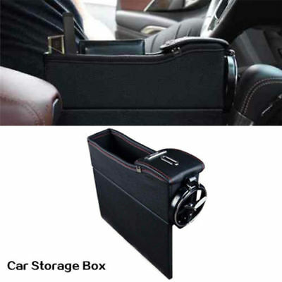 Car Seat Gap PU Leather Coin Collector Metal Cup Holder Storage Box Left Side