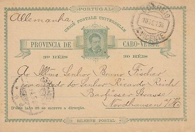 Cabo Verde: 1894: post card St. Vicente to Nordhausen