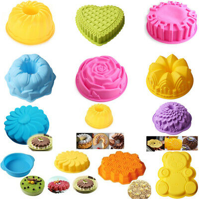 Large Bakeware Silicone Cake Mold Flower Heart Bear Pan Baking TOOLS 13 Style