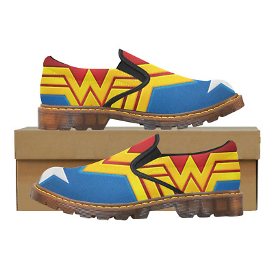Printed Womens Slip On Loafer Wonder Woman Shoes Comfy Ladies Casual Flats