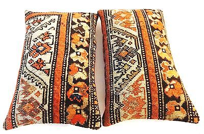 Superb Antique Malayer Fragment rug 2 Lumbar Pillows