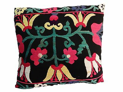 "Stunning Old Uzbeck Suzani Lg Pillow 20"" by 18.5"""