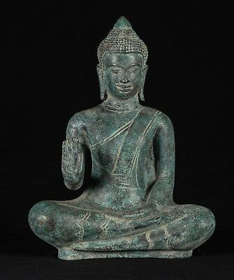 Antique Khmer Style Bronze Abhaya Mudra Protection Buddha Statue - 31cm/12""