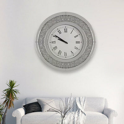 Round Sparkly Diamond Crush Crystal Silver Mirrored Roman Wall Clock Large 50CM