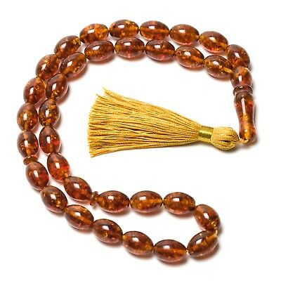 Natural Baltic Amber Islamic Muslim Prayer Beads Rosary Tesbih Misbaha Kehribar