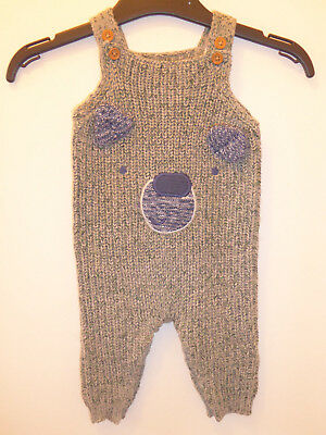 Marks & Spencer Baby Boys Winter Grey Green Knitted Dungarees Outfit 0-3 Months