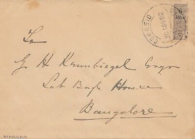West India:  1912 letter to Bangalore