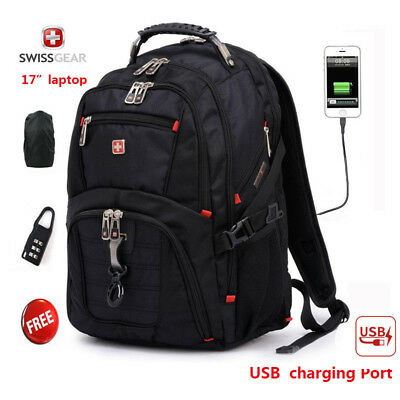 "SwissGear Multifunctional USB Port 17"" laptop backpack Waterproof Travel Bag"