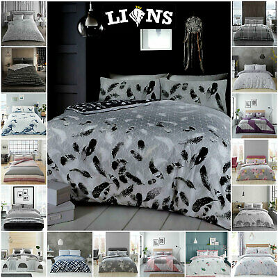 Duvet Cover Single Double King Bed Size, Easy Care Soft Reversible Bedding Set,