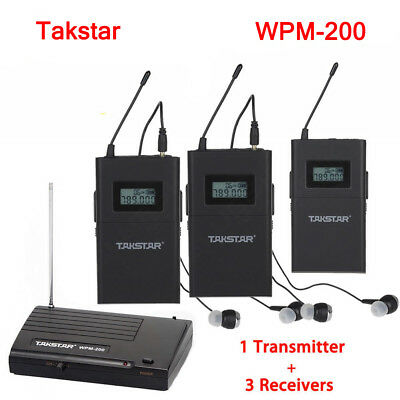 Takstar In-Ear Mic Pro WPM-200 Wireless Monitor System 1 Transmitter+3 Receiver