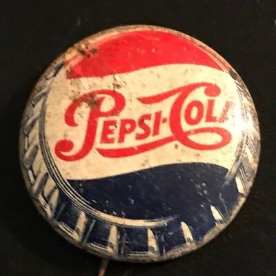 Pepsi Cola Bottle Cap Pinback Pin Advertising