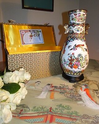 Vintage large Chinese Porcelain hand painted Vase  With Box