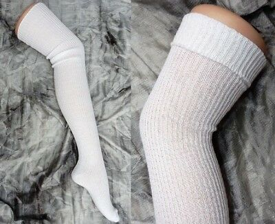 b3d3f9ddb 5 pairs White Ribbed Knit Extra Long Thigh High Over Knee Socks Winter  School