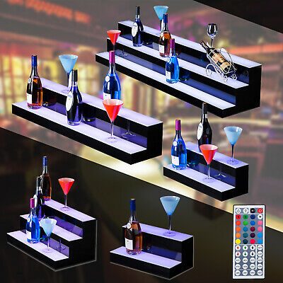 1/2/3 Step Tier LED Lighted Back Bar Glowing Liquor Bottle Display Shelf Stand