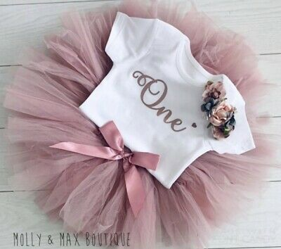 Luxury Girls 1st First Birthday Tutu Skirt Cake Smash Outfit Rose Gold & Dusky