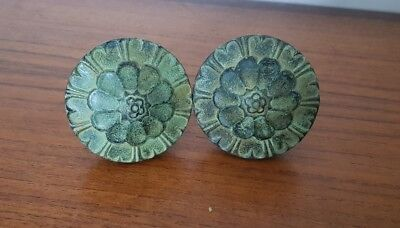Pair of Antique Ornate Floral Door Knobs