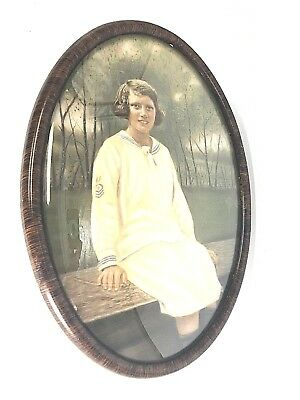 Large Antique Oval Convex Bubble Glass Frame Portrait Of A Girl In