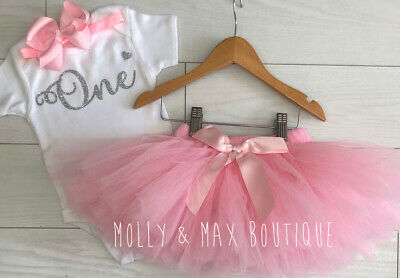 Luxury Baby Girls First 1st Birthday Outfit Tutu Skirt Dusky Pink Cake Smash