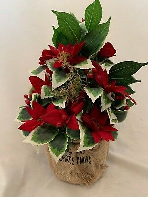 Christmas Artificial Silk Flower Poinsettia Memorial Gift Plant In Pot Delivered