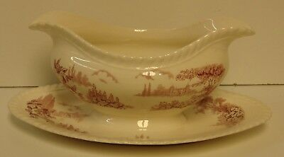Johnson Brothers CASTLE ON THE LAKE PINK Gravy Boat More Items Available