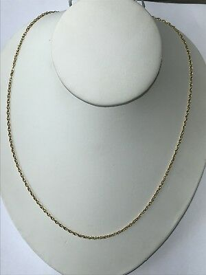 """Gorgeous 18KT Yellow Gold 750 Rolo Linked Chain Necklace 20.5 """" Long"""
