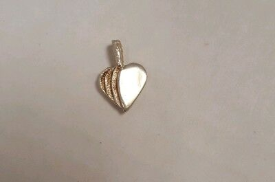 Adorable Dainty Solid Sterling Silver 925 Small Etched Heart Pendant