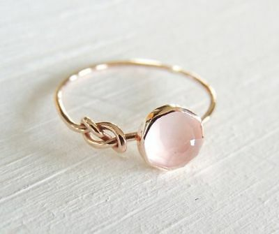 Beautiful 18K Rose Gold Filled Pink Moonstone Ring Engagement Women Jewelry