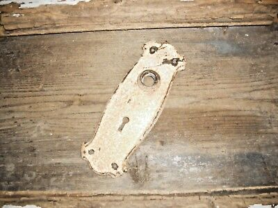 Vtg Aged Chippy Shabby Rustic Mission Gothic Door Knob Backplate Art/craft